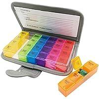 PuTwo Pilulier Semainier 7 Jours 28 Compartiments Multicolores avec Trousse – Français