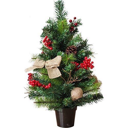 Xfjryp Mini-Weihnachtsbaum-Verschlüsselung Rot Obst Pine Cone Beflockung Weihnachtsbaumschmuck 45cm Green Christmas Day Desktop-Props Ornament (Size : 60cm)