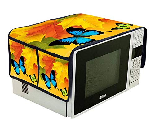 Inovamall|250TC Digital Printed Jute Microwave Oven Top Cover with Utlity 4 Pockets...