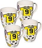 alles-meine GmbH 1 Stück _ Kaffeetasse / Henkeltasse - 500 ml -  Fussball - Trikot blau & gelb  - incl. Name - groß - Jumbotasse - Keramik / Porzellan - Teetasse - Mikrowell..