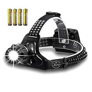 LED Stirnlampe, Akale LED Kopflampe, 3 Lichtmodi, 1000LM, Dimmbar Und Wasserdicht Stirnlampen, Perfekt fürs Camping, Outdoor und Sport,inklusive AAA Batterien