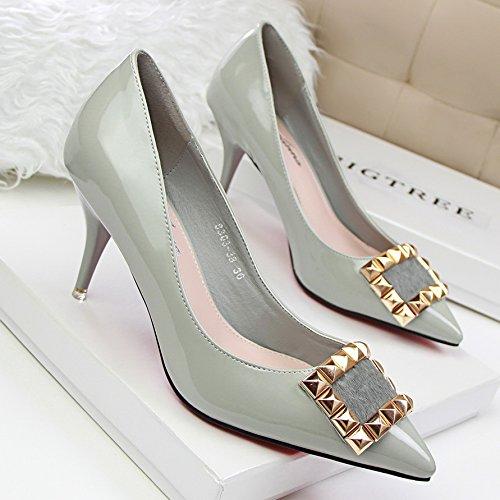 Xue Qiqi Stilvolle und elegante fein mit high-heeled Licht Spitze Metall gold Nieten Quartett schnalle Schuh, 38, Grau