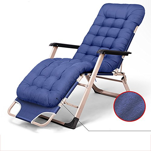 Chair ZHAIZHEN Gravity Lounge Folding Bed Zero Gravity Patio Lounge Oversize With Padded Adjustable Recliner Support 300kg 3 Colors for Outdoor Yard (Color : Blue)