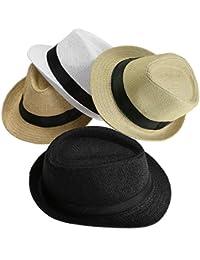 Faleto Chapeau de Paille Homme Femme Unisex Chapeau été tricoté à la Main Style Jazz Classique Loisir Chapeau Panama Vacance Plage Jazz Hat