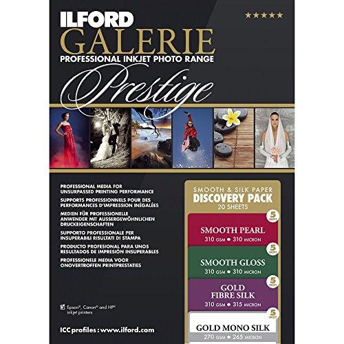 ILFORD 2004976 Galerie Prestige Fine Art Discovery-Pack, 21,6 x 27,9 cm, 20 Blatt, Probierpaket Smooth & Silk, weiß, 8.5 x 11-20 Sheets (Kirkland Blätter)