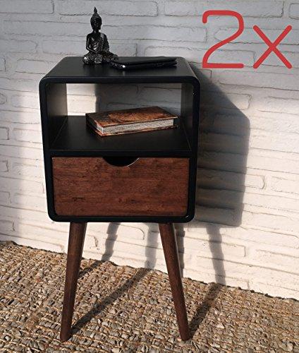 Wholesaler GmbH 2er Set Nachtschränke Kolonialstil 30 x 35 x 70 cm mit Schublade und Ablage - Telefontische Beistelltische Nachttische
