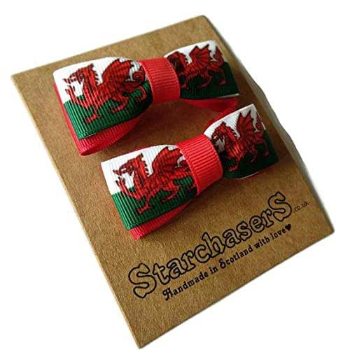 Small Welsh flag hair bows on Clips, pack of 2.: Amazon.co