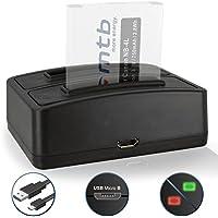 Caricabatteria doppio (USB) NB-4L per Canon Ixus 115 HS, 255 HS.../ Powershot SD30 SD40, SD1100, TX1 ... / ELPH 100 HS… / IXY ... - v. lista