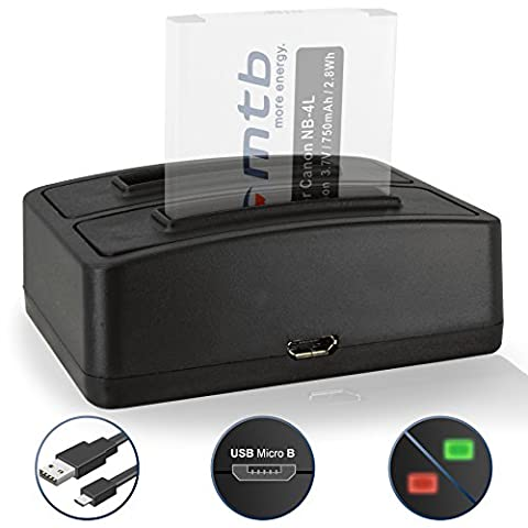 Dual-Ladegerät (USB) NB-4L für Canon Ixus 115 HS, 255 HS.../ Powershot SD30 SD40, SD1100, TX1 ... / ELPH 100 HS… / IXY ... - s. Liste