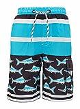 Snapper Rock garçon UPF 50+ Soleil protection UV Natation Surf Boardshort Short pour enfants et adolescents sur la plage, Enfant, UPF 50 Plus, Noir/bleu/blanc