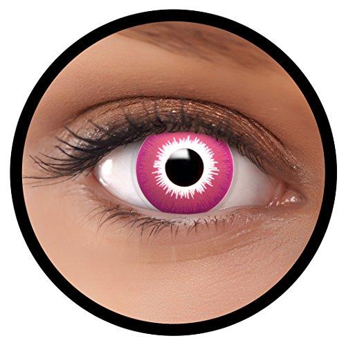 FXEYEZ® Farbige Kontaktlinsen lila Purple + Linsenbehälter, weich, ohne Stärke als 2er Pack - angenehm zu tragen und perfekt zu Halloween, Karneval, Fasching oder Fasnacht
