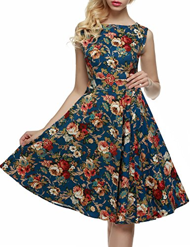 ZEARO Nouveau Sexy Robe de Soirée, Cocktail Années 50's Femmes Styles Hepburn Vingtage Imprimé Floral Taille Haut Big Swing Dress Fleur #12