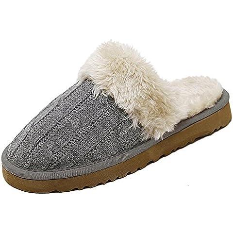 TDXIE Coniglio piatto maglieria per l'autunno/inverno basso di scarpe di baotou semi comode casa pantofole peluche , gray , 35