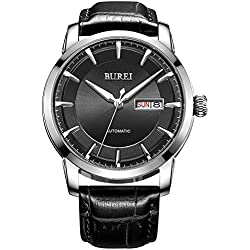 BUREI® Men's Luminous Day and Date Automatic Watch with Black Calfskin Band, Silver Bezel Black Dial