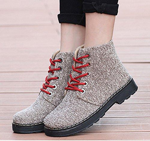 Rétro Beige Femme Lactes Low Bottines à Boots Carreaux Aisun PgwqF4Hw
