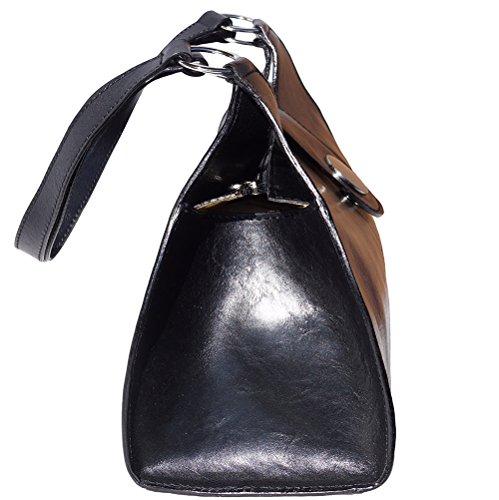 Sac à main et à épaule avec double lanière en vrai cuir de vache tamponè à la main (Grand) 6418 Noir