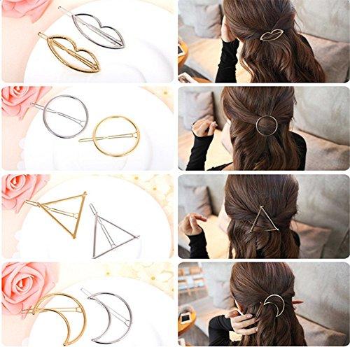 cineen 8pezzi di metallo moda Fermaglio Per Capelli, fermagli per capelli di piuma foglia Triangolo Luna geometrico capelli copricapo capelli accessori, Oro e Argento