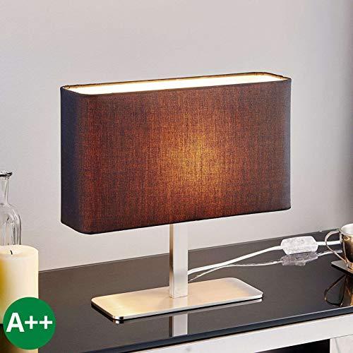 Lampe à poser 'Nisa' (Moderne) en Noir en Textile e. a. pour Salon & Salle à manger (1 lampe,à E14, A++) de Lampenwelt | Lampe à poser textile