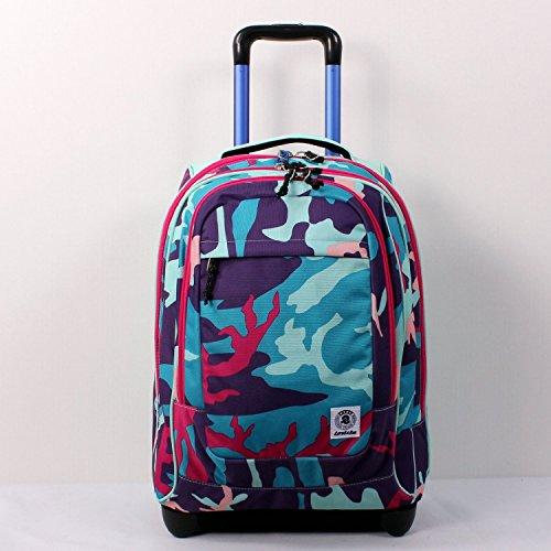 470c775ad2 TROLLEY INVICTA - Bump - Camouflage Azzurro Viola Rosa - 45 LT spallacci a  scomparsa! Uso Zaino Scuola e viaggio