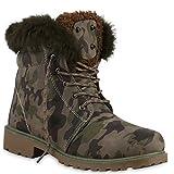 Damen Herren Warm Gefütterte Stiefeletten Outdoor Worker BootsSchnürboots Winter Kunstfell Übergrößen Schuhe 131949 Gefuttert 36 Flandell®