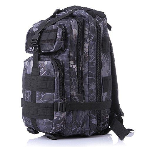 Dlflyb Outdoor Sport Camouflage Rucksack Fans Bergsteigen Wandern Taschen Große Kapazität Schulter 3 P Taktischer Männer Rucksack Black Python