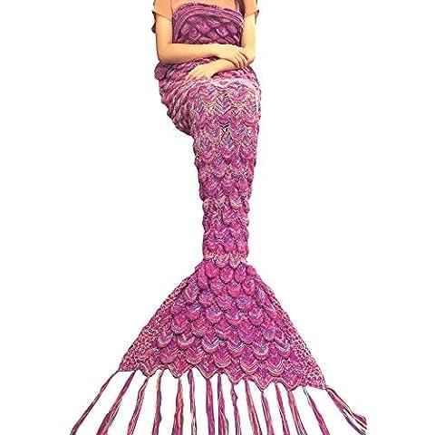 YIZYIF Sirena Manta A Mano Punto Manta Para Dormir Traje De Cola De Sirena Bolsa De Manta De Punto Muticolor Para Niños Adultos
