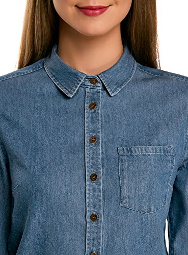 oodji Ultra Donna Abito in Jeans con Cinta e Tasca su Petto Blu (7500W)