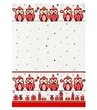 Kracht Reduziert Geschirrtücher aus Halbleinen, Eulen in Rot, 2er Pack, 50x70 cm
