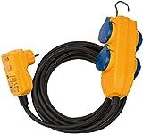 Brennenstuhl 1168720010 Schutzadapterleitung 5m H07RN-F3G1,5 mit FI-Stecker und Powerblock, Schwarz