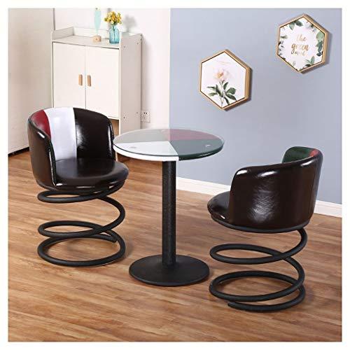 Einfach Hauptbalkon-kleiner Kaffeetisch und Stuhl-Satz-Freizeit-Lehnsessel-Faux-Leder-Farbe, die weiches Sitzkissen-Eisen-Esszimmerstuhl-hohe Rückseite für Balkon-Café-Tavernen-Geschäfts-Aufnahme zusa (Faux-leder-stühle)