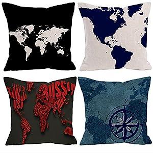 Hangood Fundas de Cojín Almohada Algodón de Lino Decoración Sofá Coche Cama Mapas del mundo Combinación 4pz 45cm x 45cm