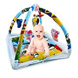 #7: FOBHIYA Baby Kick and Play Gym Cotton Bedding Set with High Quality Mosquito Net in Multi Color Prints (0-24 Months) (Blue | Multi Print)