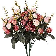 Houda - Bouquet di rose, fiori artificiali in seta, rami con boccioli, decorazione floreale per matrimonio, confezione da 2 Pink Coffee