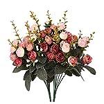 Houda - Bouquet di rose artificiali in seta, rami con boccioli e foglie, decorazione floreale per matrimonio, confezione da 2