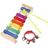 Lictin Holz-Xylophon Hölzernes Xylophon Holz Glockenspiel-Set Perfekt Glockenspiel Holz Geschenke für Kinder mit Zwei Kindersicheren Hölzernen Schlägeln und mit Handgelenk