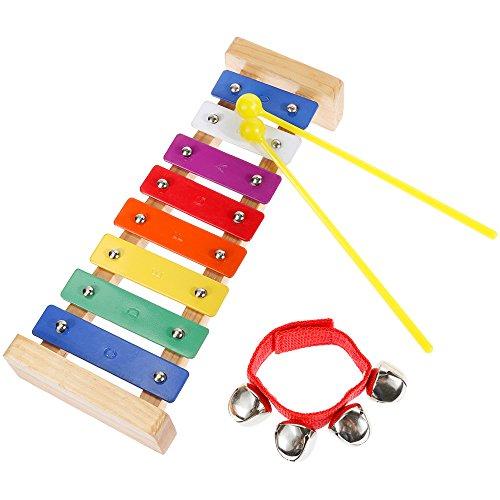 Lictin Holz-Xylophon Hölzernes Xylophon Holz Glockenspiel-Set Perfekt Glockenspiel Holz Geschenke für Kinder mit zwei Kindersicheren Hölzernen Schlägeln und mit Handgelenk Glocken beschenken