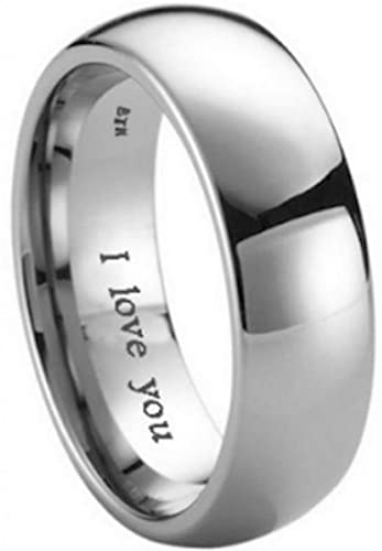 Mens Titanium Wedding Engagement Engraved With I Love You Band Ring Unisex    Size L