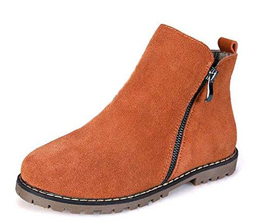 Wealsex Bottes Plates Suédé Automne Hiver Fermeture Eclair Boots Chaudes Femme brun fourré intérieur