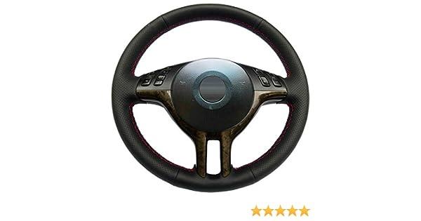 HCDSWSN Coprivolante per Auto a Mano in Pelle Sintetica Nera per BMW E39 E46 325i E53 X5