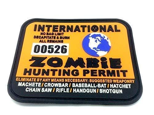 Permiso de caza de Mundo Zombie Internacional Parche de Velcro Grande de Airsoft de PVC Naranja