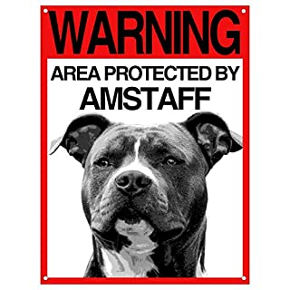Lovelytiles Amstaff Schild ATTEN am Hund Warning Area Protected by