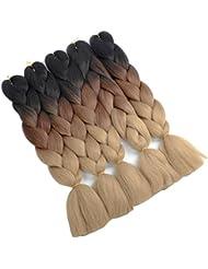 Mèches pour tresses fashion Golden Rule Couleur 1B 4/ 27 3 Tons Mèches Ombre pour Tresses 24 pouces Mèches xpression pour tresses 5 Pièces
