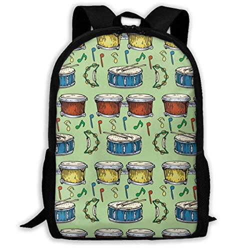 CVDGSAD Bunte trommeln bongos tamburine grün rucksack kinder cool schultasche muster mädchen jungen tag pack
