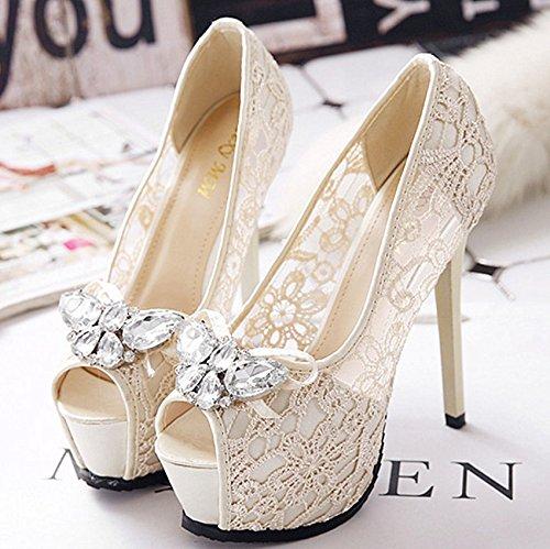 XINJING-S  14 cm ivory Satin Lace crystal Bow open toe Platform heels Hochzeit Schuhe Braut Hellelfenbein