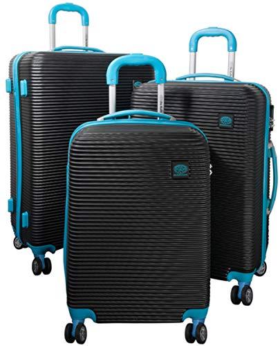 3tlg. Hartschalen ABS Kofferset Trolley Reisekoffer Set Reisetrolley Handgepäck Boardcase Santorin (Farbe Schwarz-Blau)