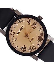 VANKER Dibujos animados muchacha de las mujeres de señora reloj de cuarzo Tiempo Puntero la correa de cuero reloj de pulsera Negro