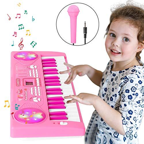 Shayson Klavier für Kinder, 37 Key Multifunktions-Keyboard Klavier Spielen Klavier Orgel mit Mikrofon pädagogisches Spielzeug für Kleinkinder Kinder Kinder (Rosa)