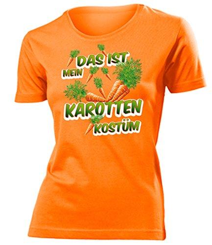 Damen Karotte Kostüm - Karotten Kostüm Kleidung 4978 Damen T-Shirt Frauen Karneval Fasching Faschingskostüm Karnevalskostüm Paarkostüm Gruppenkostüm Orange S