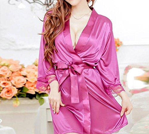 LJ&L Biancheria sexy vestito sexy tentazione cinghia camicia da notte di pizzo bella accappatoio di seta,white,one size Purple