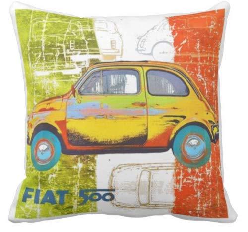 Pillow pillow Cuscino Personalizzato 40X40 Meme Tributo Fiat 500 Fiat Cinquecento Auto d'Epoca Artwork Hippie Cult Artwork - 2 Idea Regalo